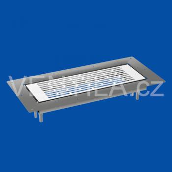 VentilaFlex kovová mřížka do podlahy bílá s rámečkem 300x100 mm